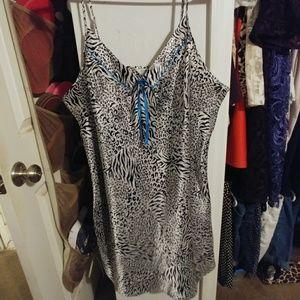 Satin Animal Printed Nightgown